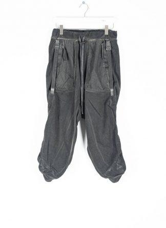 BORIS BIDJAN SABERI roots men pants herren hose jogger F092 cotton resin dyed patina grey hide m 2