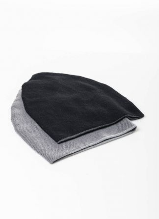 LABEL UNDER CONSTRUCTION FW1920 cocoon beanie 34YXAS262 men women unisex cashmere grey black hide m 2