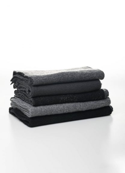 LABEL UNDER CONSTRUCTION scarf scarfs schal schals men women unisex pure cashmere silk grey black hide m 2