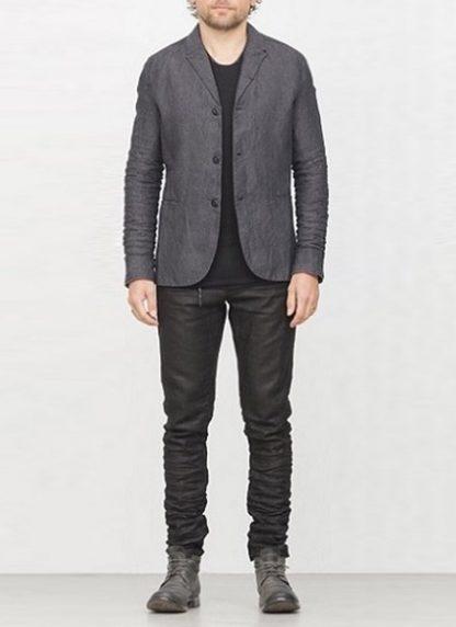 LAYER 0 men classic H blazer jacket dark grey linen FW1718 hide m 2