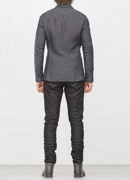 LAYER 0 men classic H blazer jacket dark grey linen FW1718 hide m 5