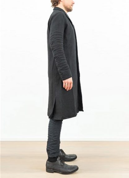 LAYER 0 men clothing H trench coat black linen SS17 hide m 4