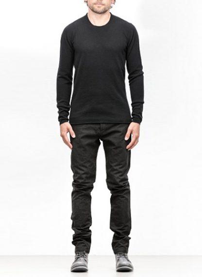 Label Under Construction FW18 men primary circle neck sweater cashmere black hide m 2