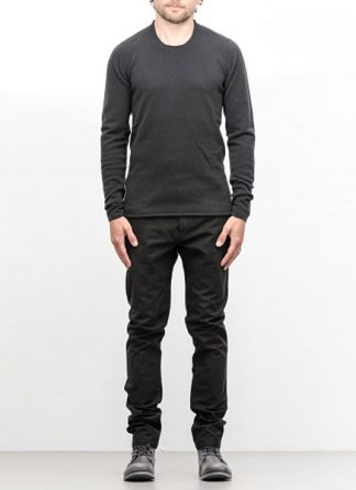 Label Under Construction FW18 men primary circle neck sweater wool dark grey hide m 2