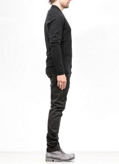 Label Under Construction FW18 men primary slash neck cardigan wool black hide m 3