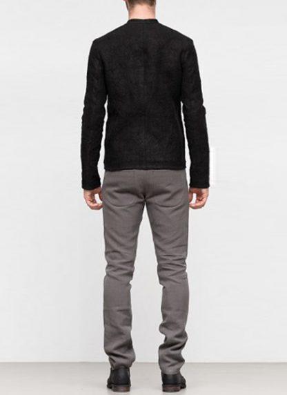 Label Under Construction SS19 men short jacket linen black hide m 5
