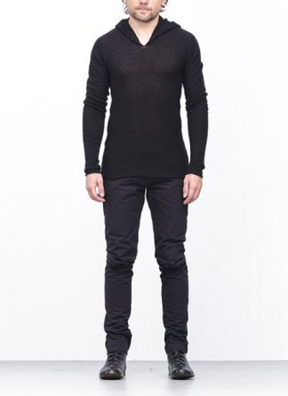 Label Under Construction arched long hoodie sweater cashmere silk black FW1718 hide m 2