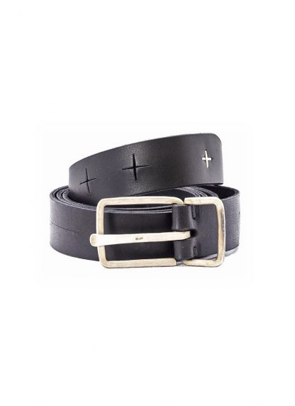M.A MAURIZIO AMADEI men women G buckle cross cuts belt damen herren guertel EG2D GR 3.0 cow leather 925 sterling silver color black hide m 2