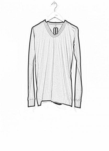 RICK OWENS larry women V neck long sleeve tee tshirt top damen cotton black hide m 1