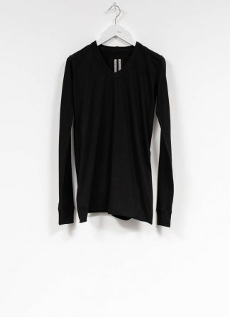 RICK OWENS larry women V neck long sleeve tee tshirt top damen cotton black hide m 2