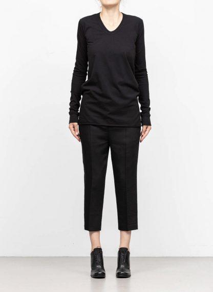 RICK OWENS larry women V neck long sleeve tee tshirt top damen cotton black hide m 3