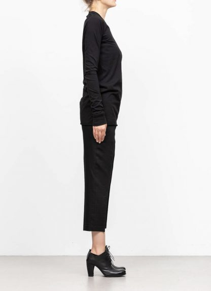 RICK OWENS larry women V neck long sleeve tee tshirt top damen cotton black hide m 4