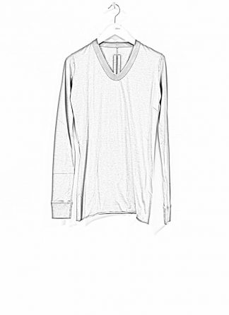 RICK OWENS larry women V neck long sleeve tee tshirt top damen cotton dust hide m 1
