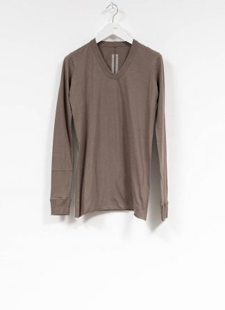RICK OWENS larry women V neck long sleeve tee tshirt top damen cotton dust hide m 2