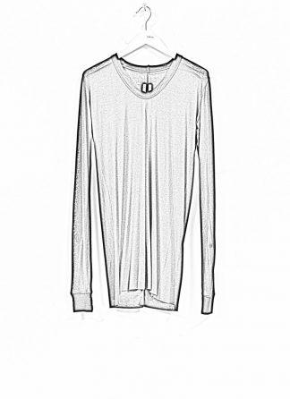 RICK OWENS larry women V neck long sleeve tee tshirt top damen viscose silk black hide m 1