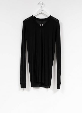 RICK OWENS larry women V neck long sleeve tee tshirt top damen viscose silk black hide m 2