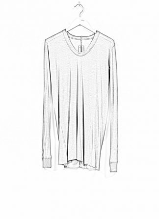RICK OWENS larry women V neck long sleeve tee tshirt top damen viscose silk blu hide m 1
