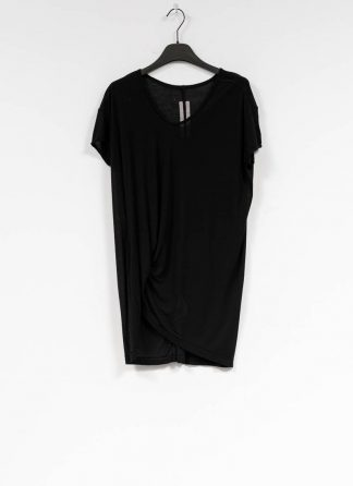 RICK OWENS larry women hiked tee tshirt top damen viscose silk black hide m 2