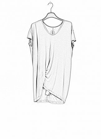 RICK OWENS larry women hiked tee tshirt top damen viscose silk blu hide m 1