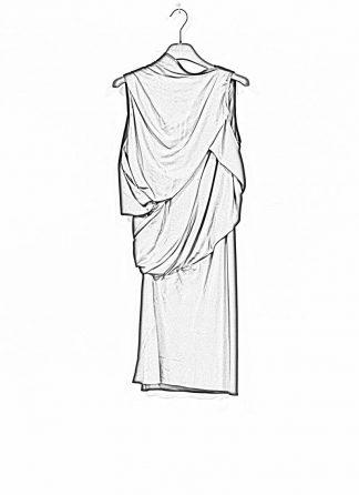 RICK OWENS larry women knot tunic dress damen kleid acetate silk black hide m 1