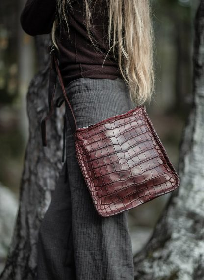 GUIDI Cross Body Bag Shoulder Tasche W4 crocodile full grain leather dark red burgundy CV23T hide m 4