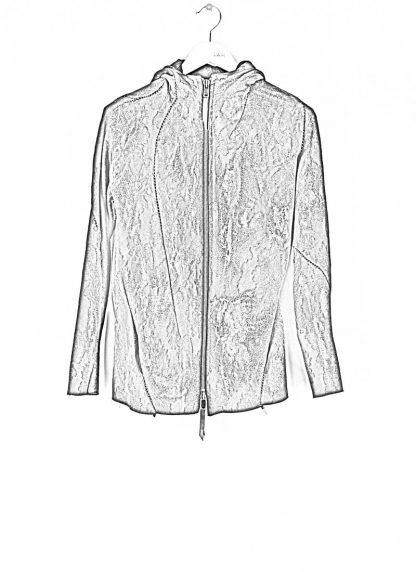 LEON EMANUEL BLANCK Distortion Short Hoody Zip Jacket DIS M SHO 01 Z sphere knit latex treatment hand coated CO PA EA black hide m 1