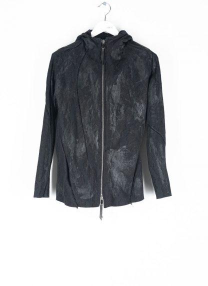 LEON EMANUEL BLANCK Distortion Short Hoody Zip Jacket DIS M SHO 01 Z sphere knit latex treatment hand coated CO PA EA black hide m 2