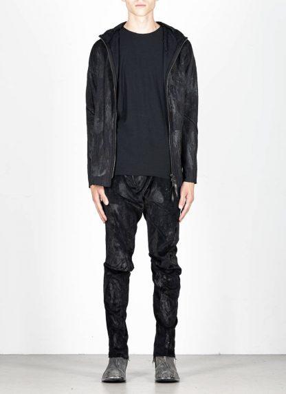 LEON EMANUEL BLANCK Distortion Short Hoody Zip Jacket DIS M SHO 01 Z sphere knit latex treatment hand coated CO PA EA black hide m 3