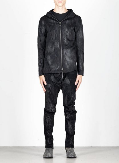 LEON EMANUEL BLANCK Distortion Short Hoody Zip Jacket DIS M SHO 01 Z sphere knit latex treatment hand coated CO PA EA black hide m 4