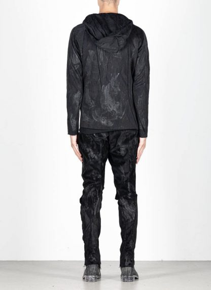 LEON EMANUEL BLANCK Distortion Short Hoody Zip Jacket DIS M SHO 01 Z sphere knit latex treatment hand coated CO PA EA black hide m 6