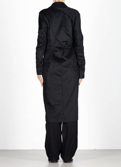 LEON EMANUEL BLANCK distortion long blazer with silk scarf DIS W LB 01 damen jacke mantel pure cashmere black hide m 6