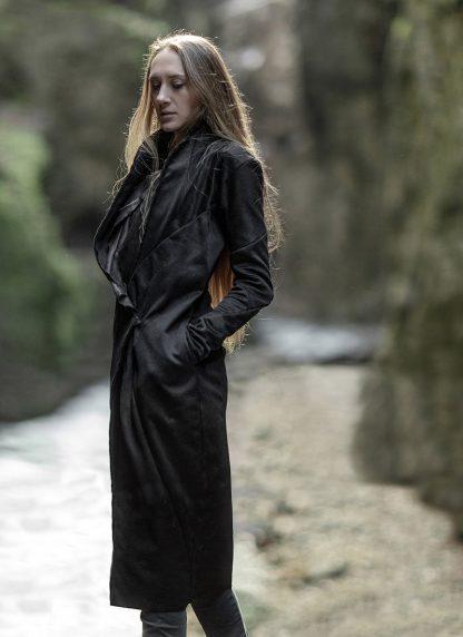 LEON EMANUEL BLANCK distortion long blazer with silk scarf DIS W LB 01 damen jacke mantel pure cashmere black hide m 8