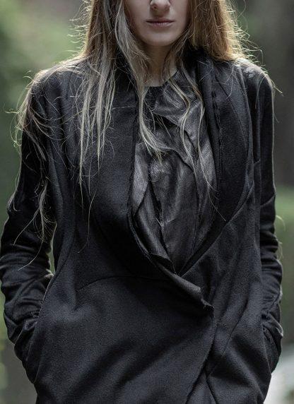 LEON EMANUEL BLANCK distortion long blazer with silk scarf DIS W LB 01 damen jacke mantel pure cashmere black hide m 9