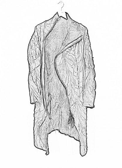 LEON EMANUEL BLANCK men distortion curved coat herren mantel parka DIS M CC 01 with removable extended inner coat shell stinging nettle cotton lining mink black hide m 4