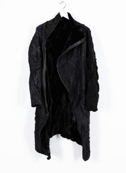 LEON EMANUEL BLANCK men distortion curved coat herren mantel parka DIS M CC 01 with removable extended inner coat shell stinging nettle cotton lining mink black hide m 5