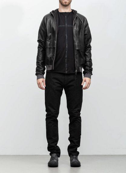 M.A maurizio amadei men deep pocket hooded bomber jacket J330H black super soft lamb leather TEX 0.5 hide m 3