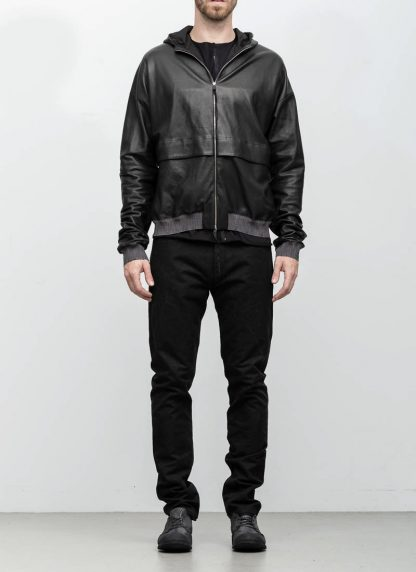 M.A maurizio amadei men deep pocket hooded bomber jacket J330H black super soft lamb leather TEX 0.5 hide m 4