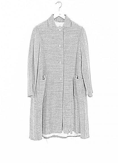 M.A cross Maurizio Amadei women short collar wide two pocket coat damen mantel CW362P VWL virgin wool linen grey hide m 1