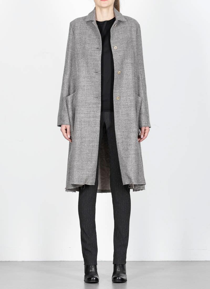 aBy 2 M Collar Pocket CoatGreyVirgin Wool Linen Wide MAmadeiShort nOPkw0
