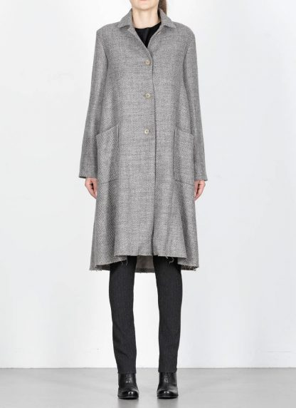 M.A cross Maurizio Amadei women short collar wide two pocket coat damen mantel CW362P VWL virgin wool linen grey hide m 4