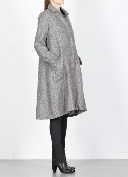 M.A cross Maurizio Amadei women short collar wide two pocket coat damen mantel CW362P VWL virgin wool linen grey hide m 5
