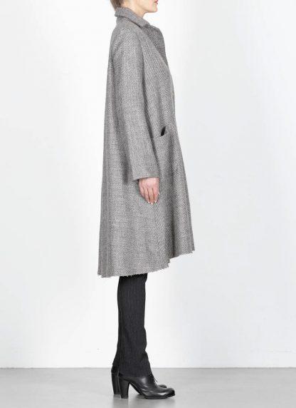 M.A cross Maurizio Amadei women short collar wide two pocket coat damen mantel CW362P VWL virgin wool linen grey hide m 6