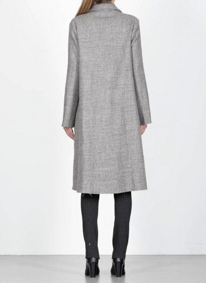 M.A cross Maurizio Amadei women short collar wide two pocket coat damen mantel CW362P VWL virgin wool linen grey hide m 7