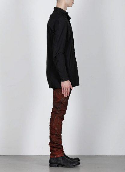 BORIS BIDJAN SABERI ss20 SHIRT1 men button down shirt herren hemd F1501M cotton linen elastan black hide m 4