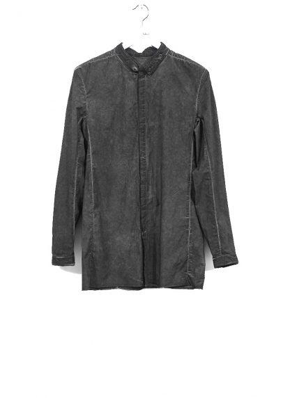 BORIS BIDJAN SABERI men SHIRT1 F1501M button down shirt herren hemd resin dyed cotton linen elastan dark grey hide m 2