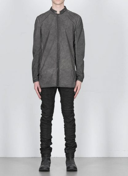 BORIS BIDJAN SABERI men SHIRT1 F1501M button down shirt herren hemd resin dyed cotton linen elastan dark grey hide m 3
