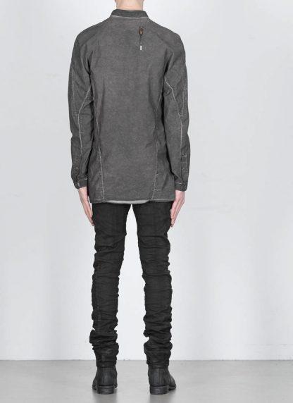 BORIS BIDJAN SABERI men SHIRT1 F1501M button down shirt herren hemd resin dyed cotton linen elastan dark grey hide m 5