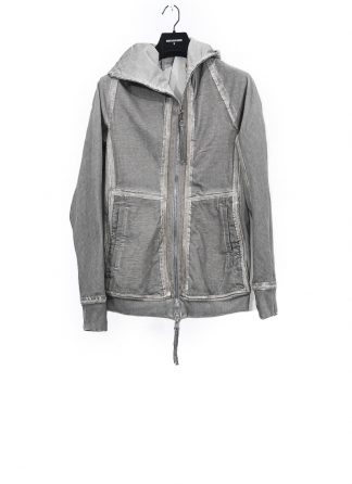 BORIS BIDJAN SABERI men reversible zip jacket ninja hoodie ZIPPER2 FTO00002 flat stitch seam taped resin dyed herren jacke cotton light grey hide m 2