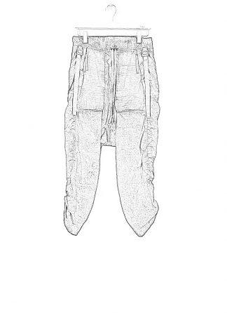 BORIS BIDJAN SABERI ss20 men P28 F1501M pants with adjustable strapes resin dyed herren hose jogger cotton faded dark grey hide m 1