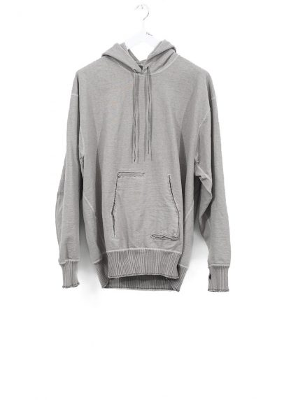 TAICHI MURAKAMI ss20 men Big Sweat Parka Knitted Sweater Herren Pulli unbalanced cotton jersey light grey hide m 2